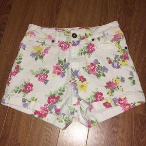 Floral Print Jean Shorts